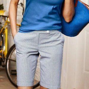 Blue White Seersucker Pinstriped Bermuda Shorts 6P